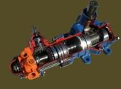 Гидравлический рулевой механизм автомобиля КамАЗ в разрезе