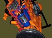 Двигатель дизельный Д-65 в разрезе с электроприводом.